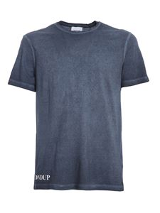 Dondup - Flamed cotton jersey T-shirt in blue