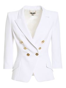 Elisabetta Franchi - Cropped double breasted blazer in ivory color