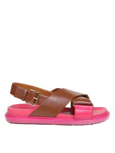 Marni - Fussbett sandals in brown and pink