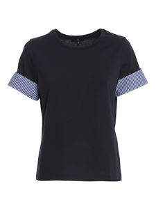 Fay - Turn-up sleeve T-shirt in black