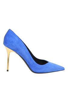 Balmain - Gold finished heel pumps in blue