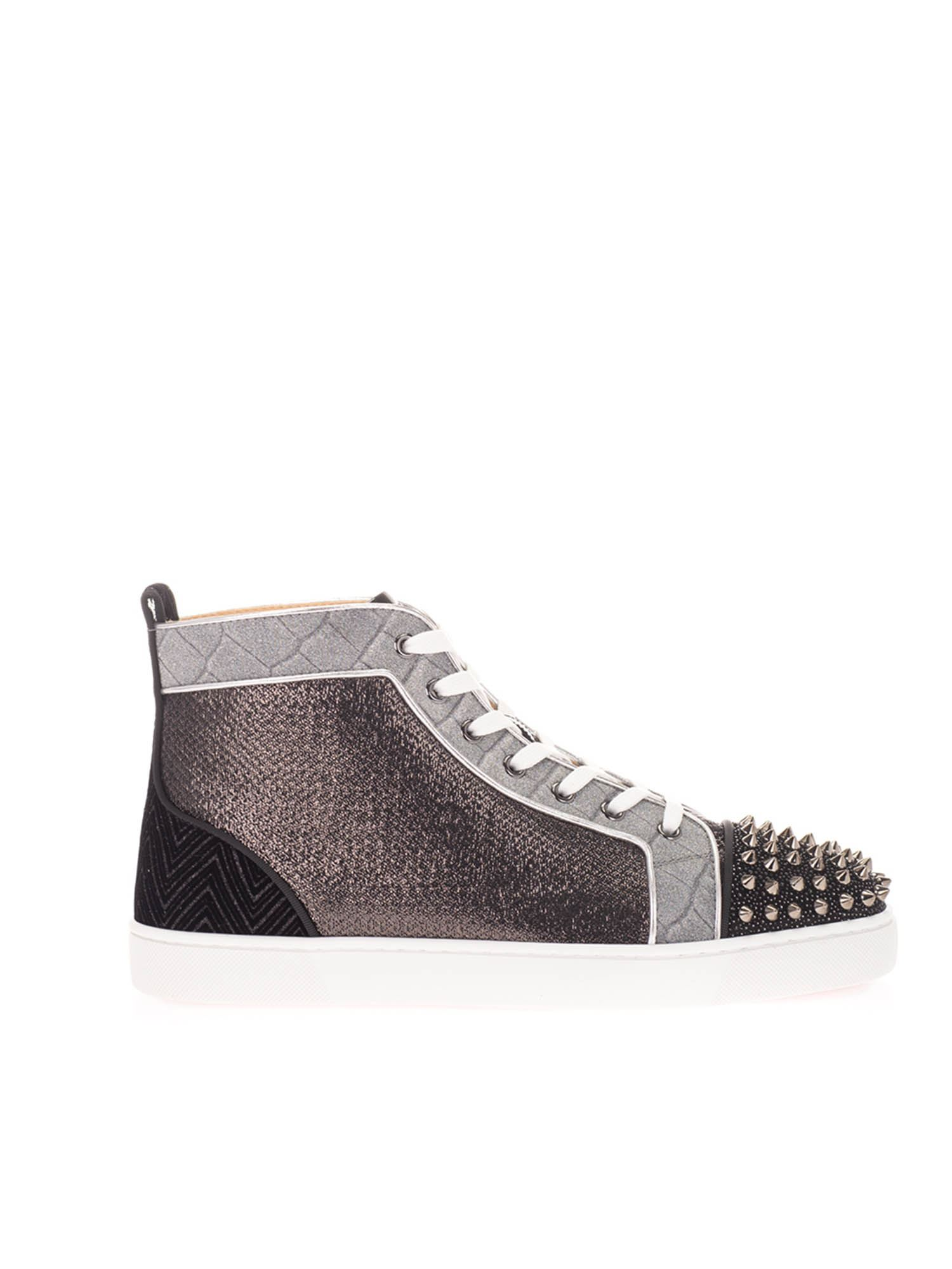 Christian Louboutin LOU SPIKES ORLATO SNEAKERS IN BLACK AND SILVER