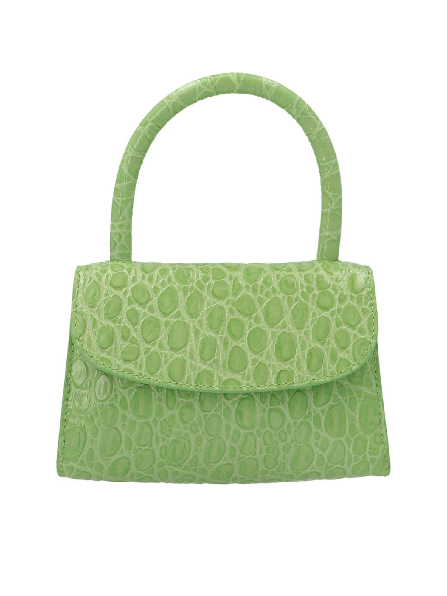 By Far MINI CROCO PRINT HANDBAG IN GREEN