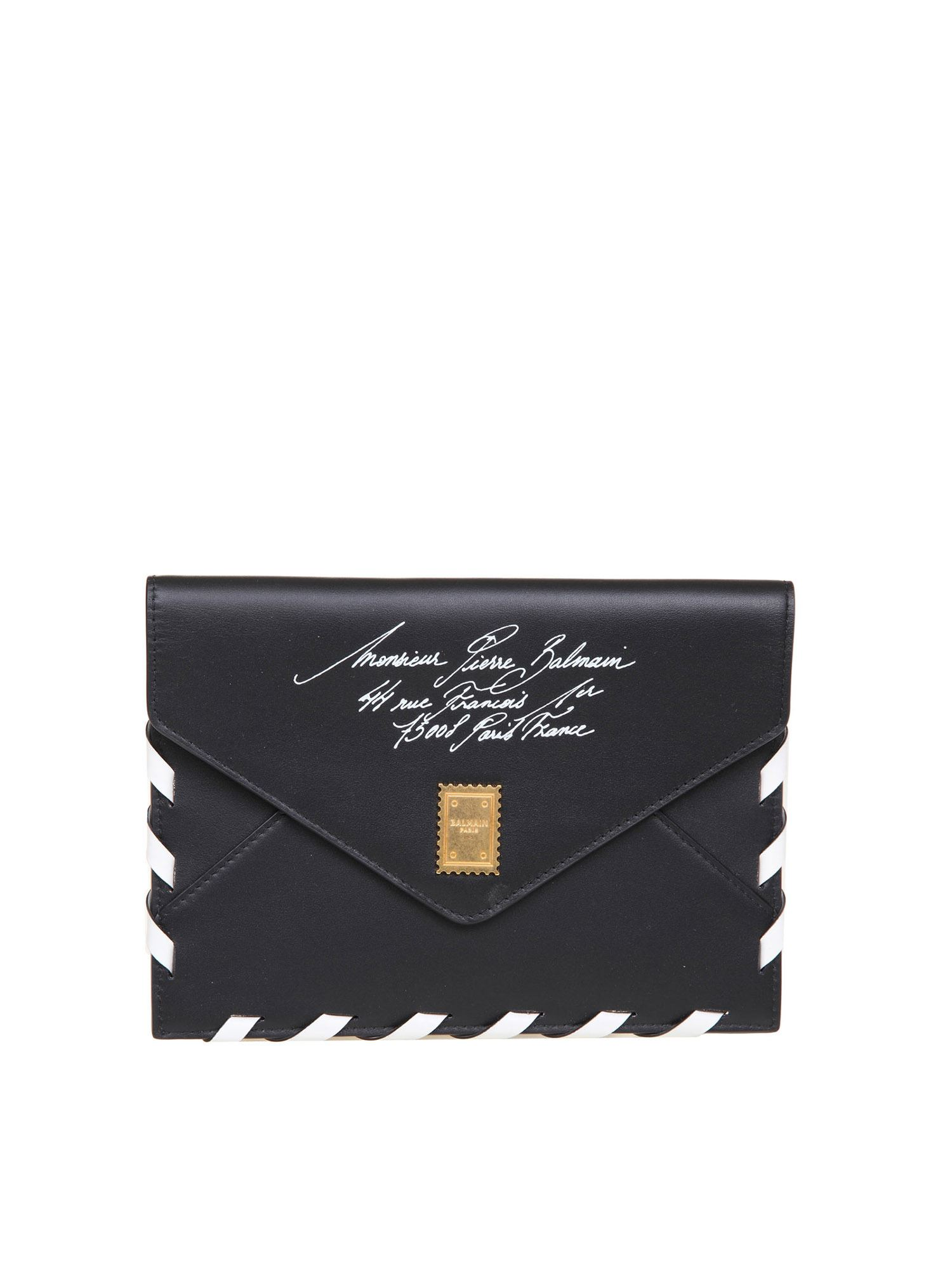 Balmain B-ENVELOPE CLUTCH IN BLACK