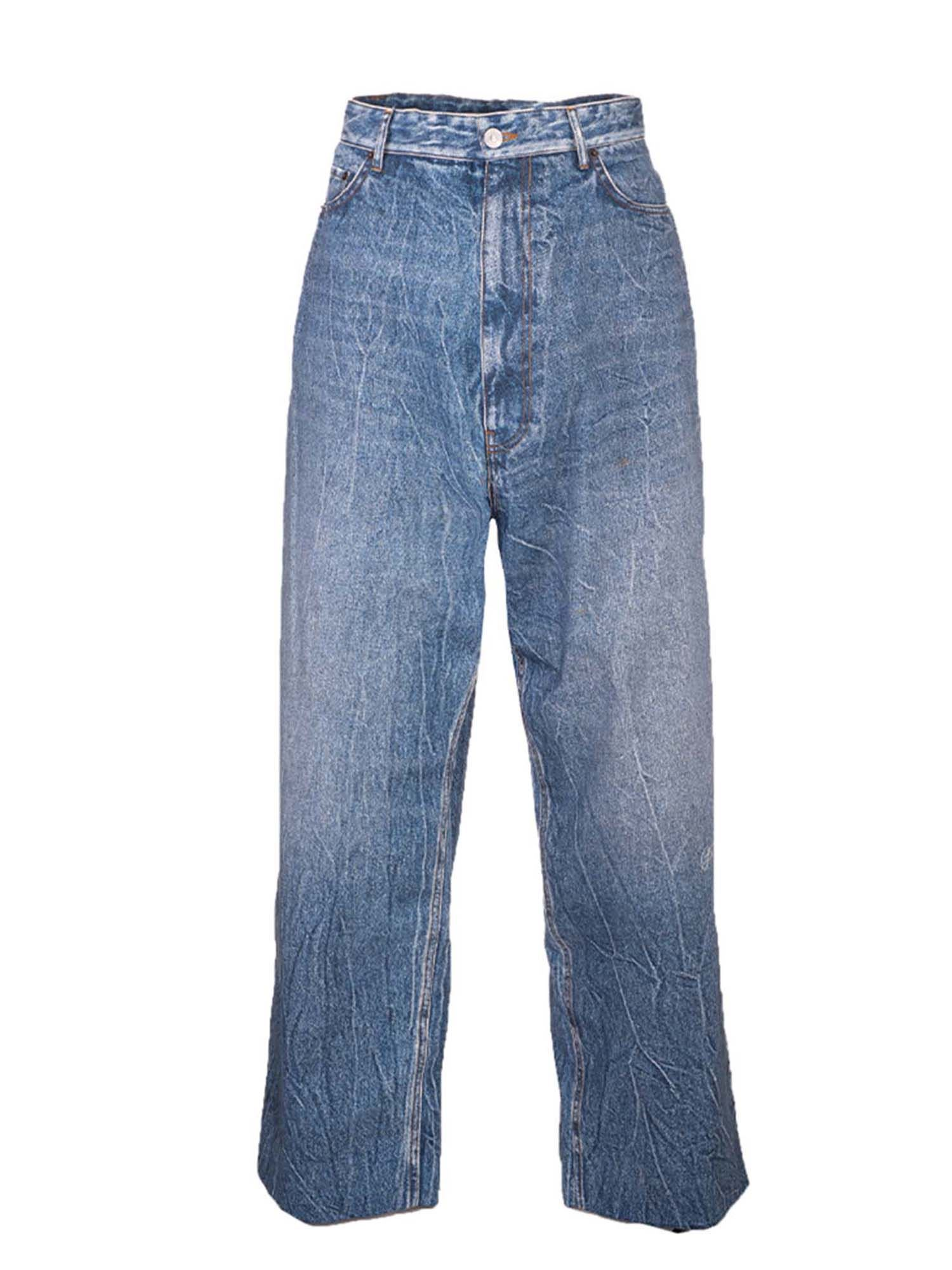 Balenciaga BAGGY TROMPE L'OEIL TROUSERS IN BLUE