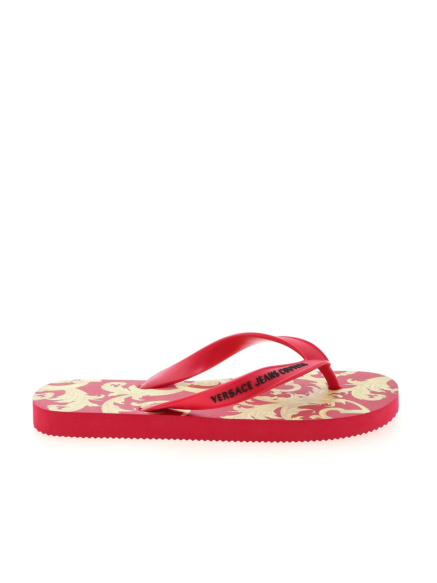 Versace Jeans Couture BAROQUE PRINT SLIPPERS IN RED