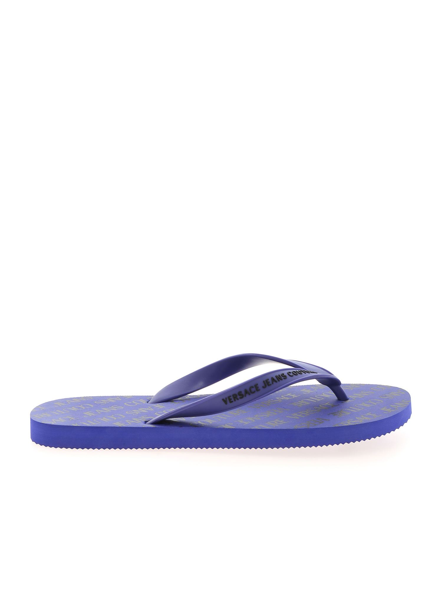 Versace Jeans Couture LOGO LETTERING SLIPPERS IN PURPLE