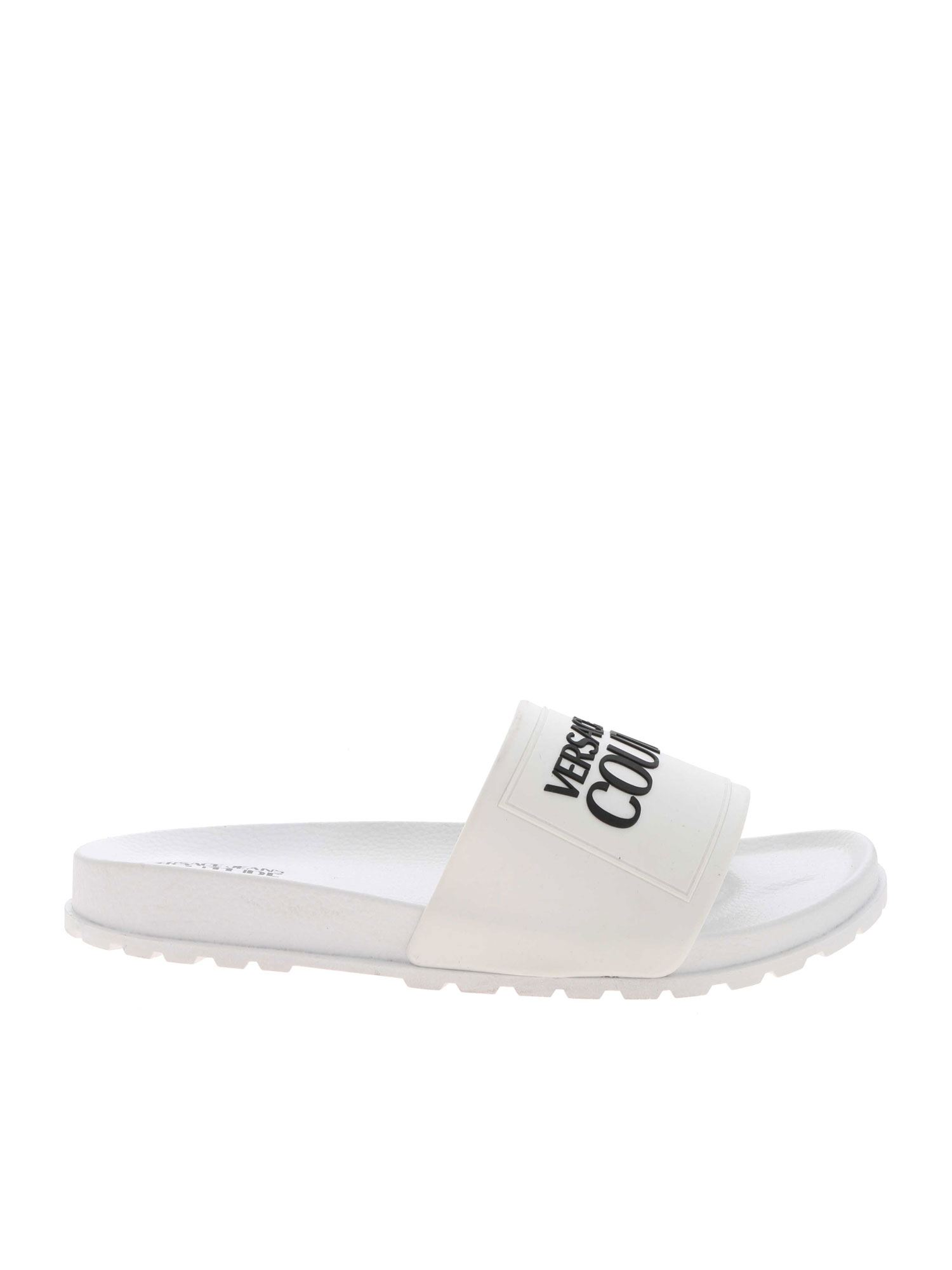 Versace Jeans Couture LETTERING LOGO SLIPPERS IN WHITE