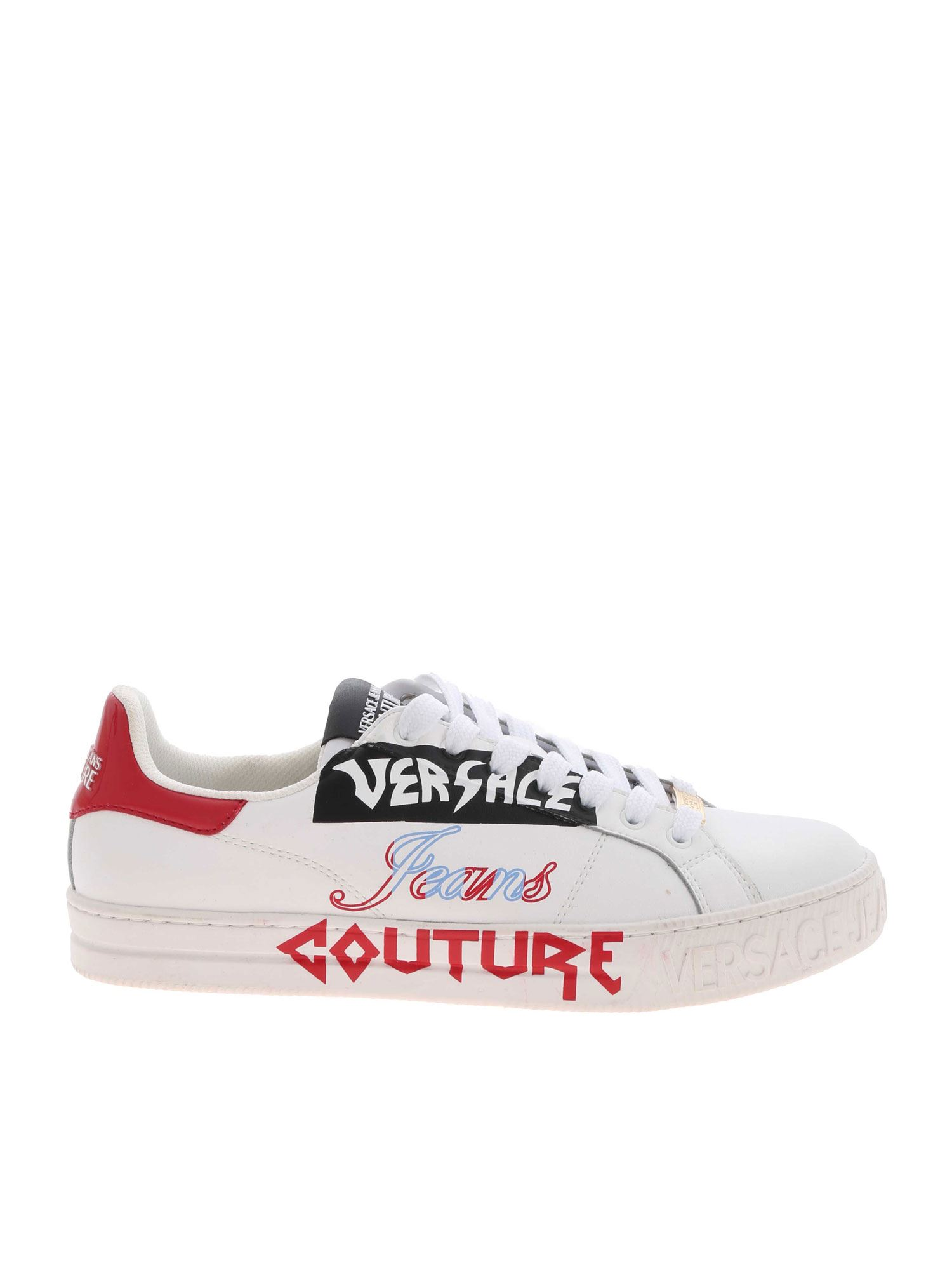 VERSACE JEANS COUTURE CONTRASTING LOGO SNEAKERS IN WHITE