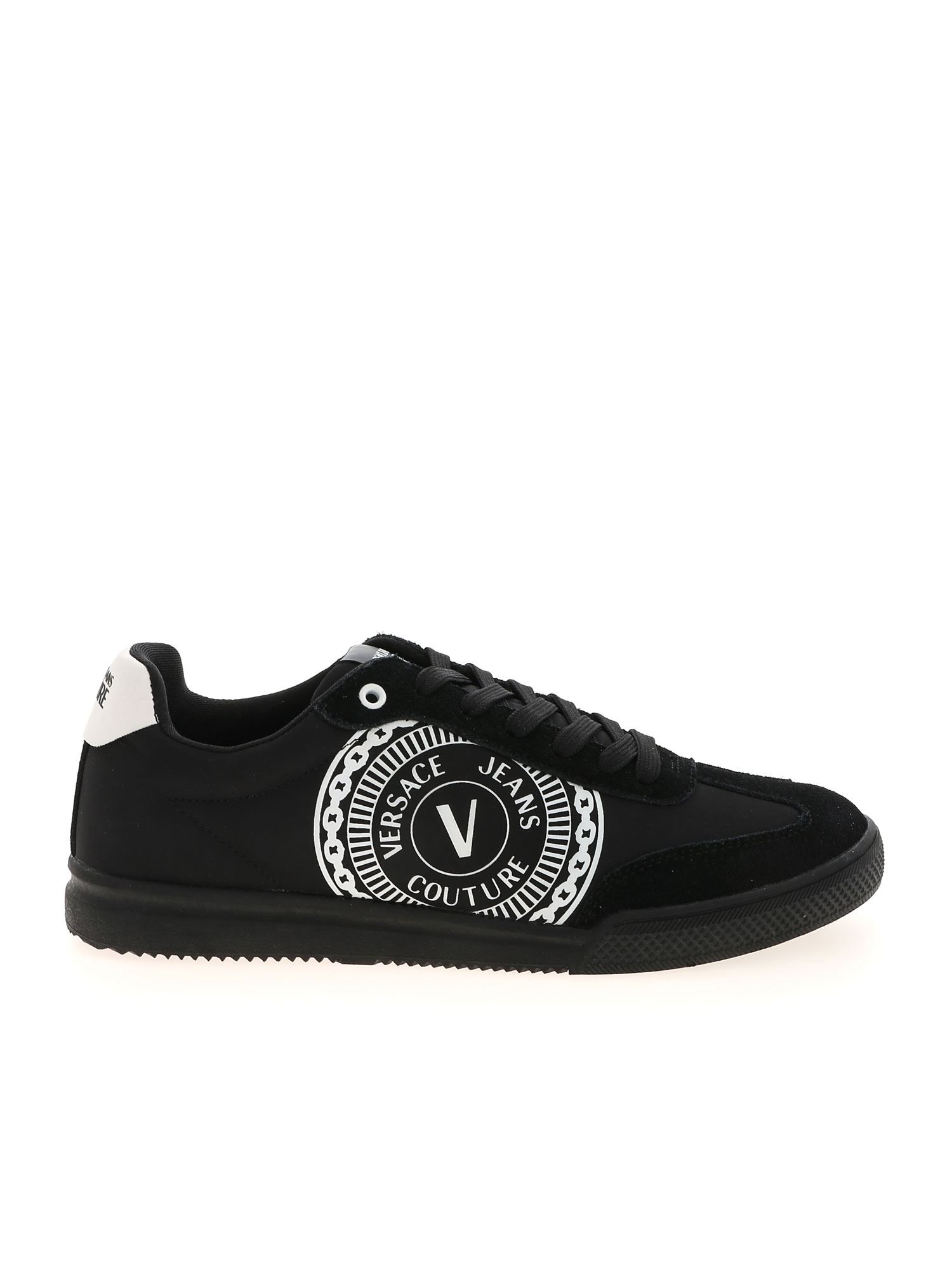 Versace Jeans Couture V-EMPLEM LOGO SNEAKERS IN BLACK AND WHITE