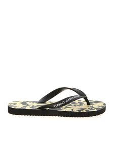 Versace Jeans Couture - Baroque print slippers in black