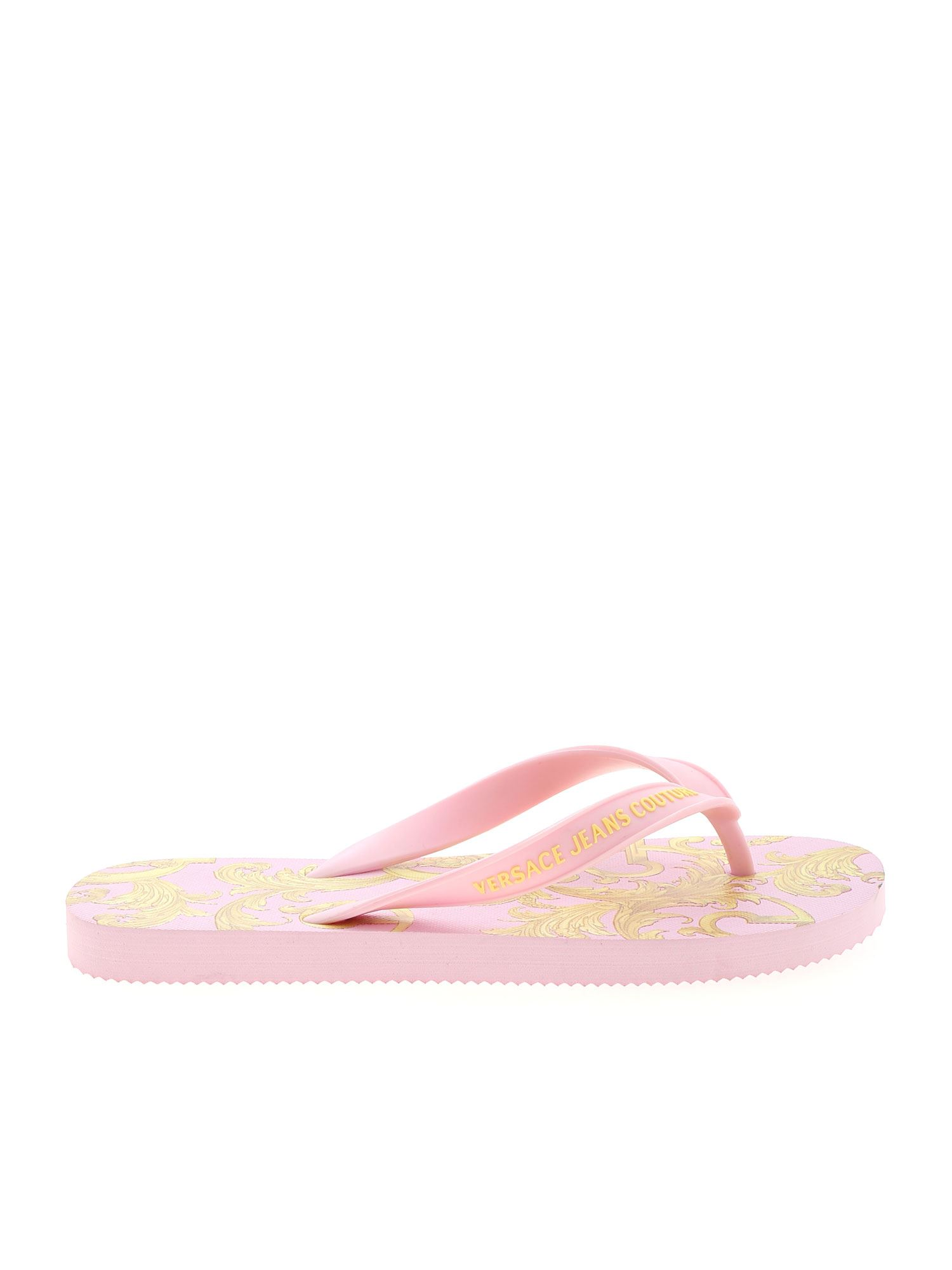 Versace Jeans Couture BAROQUE PRINT SLIPPERS IN PINK