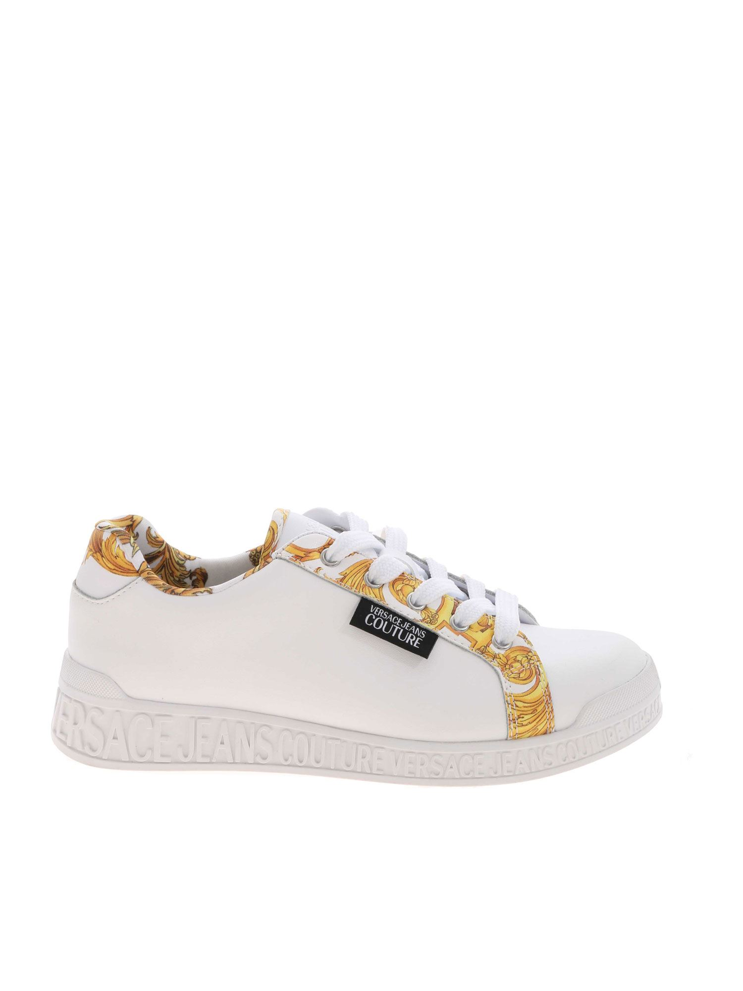 Versace Jeans Couture BAROQUE PRINT SNEAKERS IN WHITE