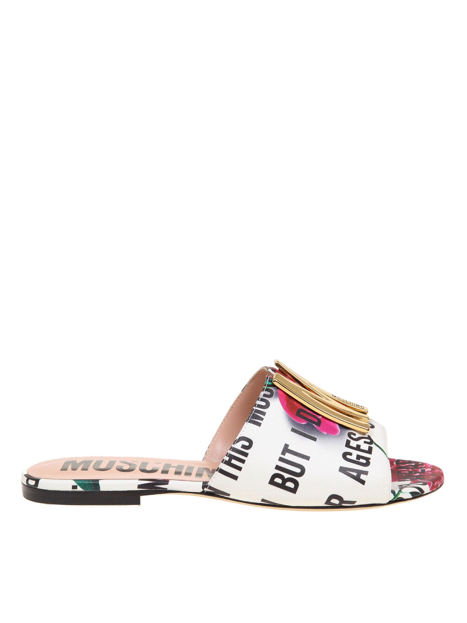 MOSCHINO M SLOGAN AND FLOWERS SANDALS IN WHITE