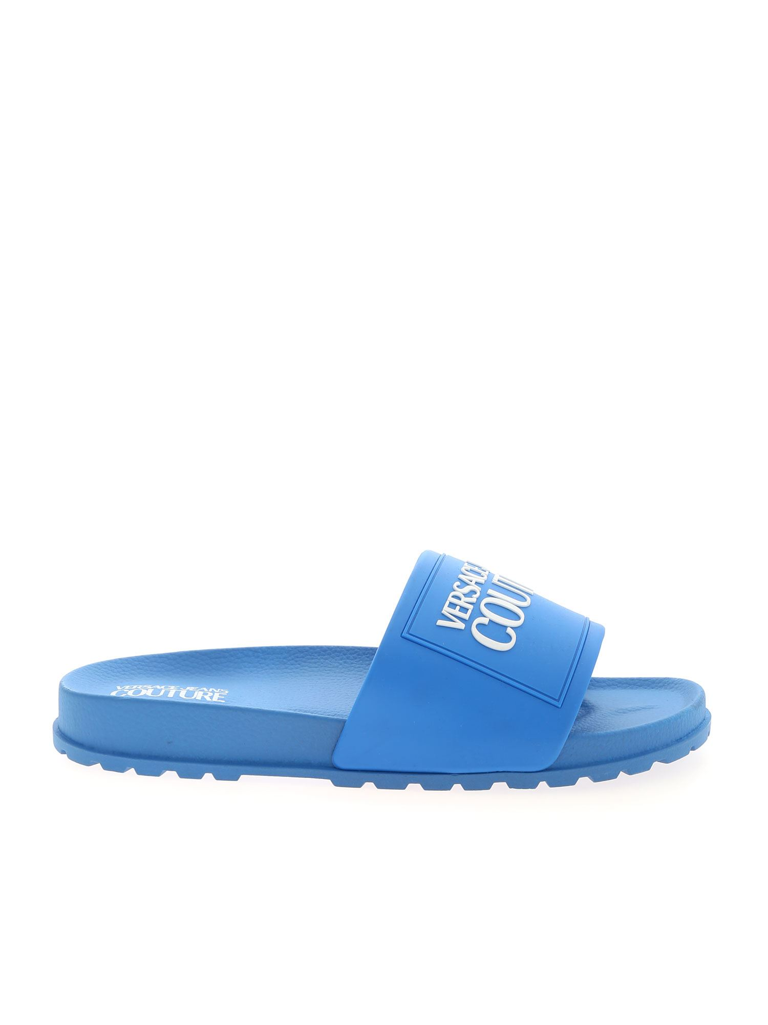 Versace Jeans Couture LETTERING LOGO SLIPPERS IN BLUE