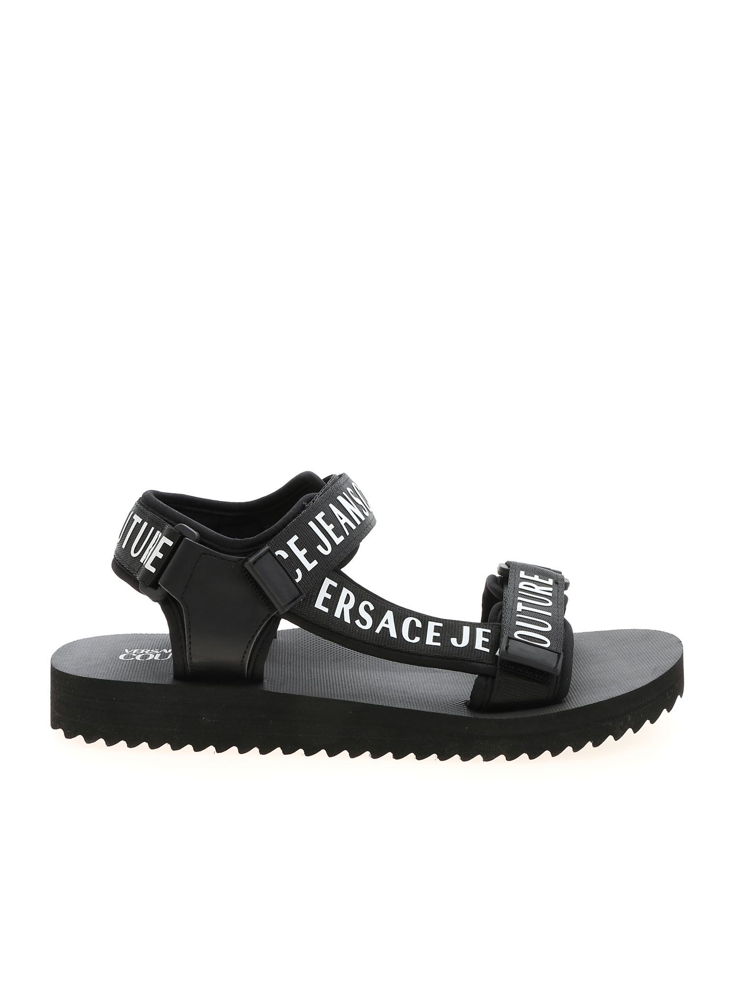 Versace Jeans Couture BRANDED VELCRO SANDALS IN BLACK AND WHITE