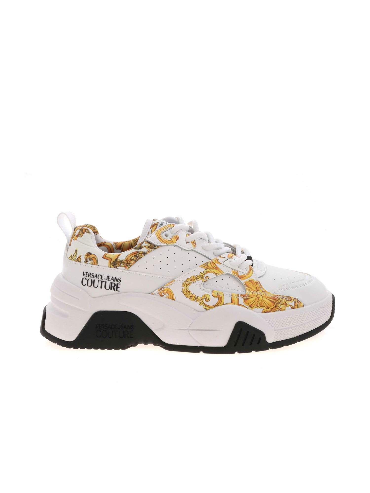 Versace Jeans Couture Leathers VERSAILLES PRINT SNEAKERS IN WHITE