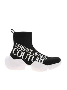 Versace Jeans Couture - Branded knit sneakers in black