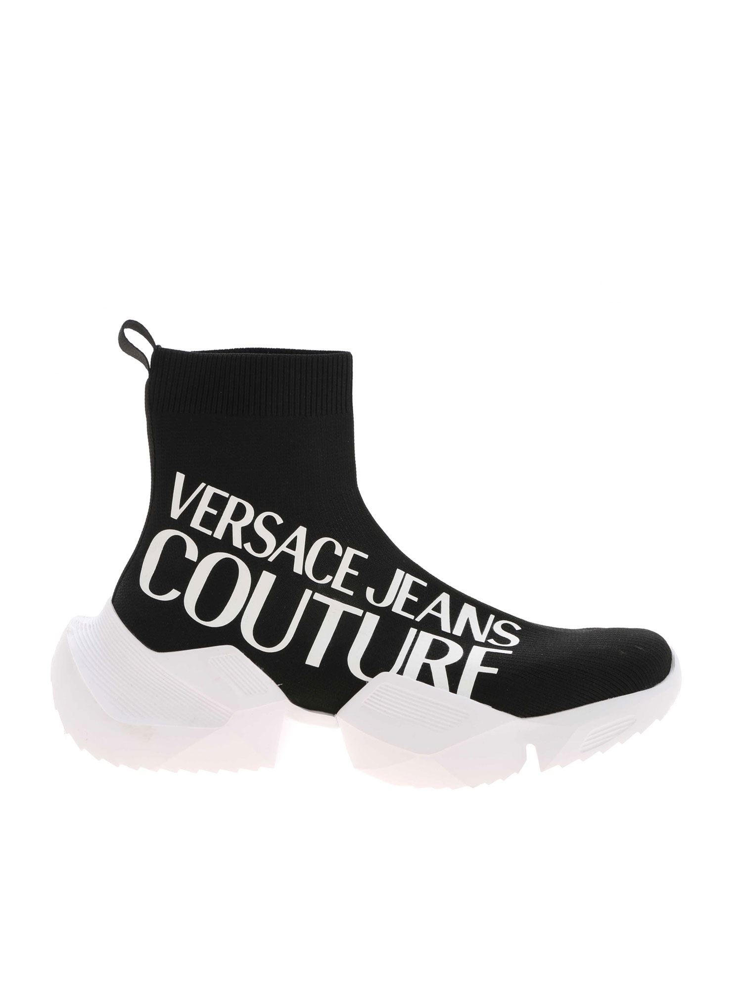 Versace Jeans Couture BRANDED KNIT SNEAKERS IN BLACK