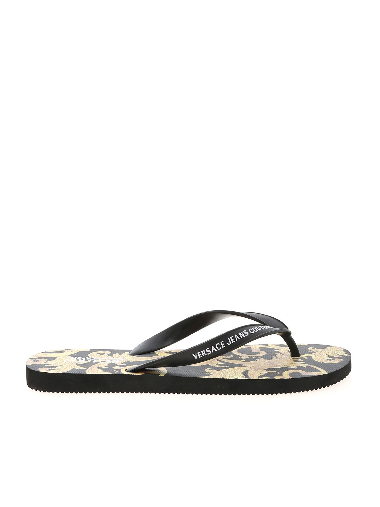 Versace Jeans Couture BAROQUE PRINT SLIPPERS IN BLACK