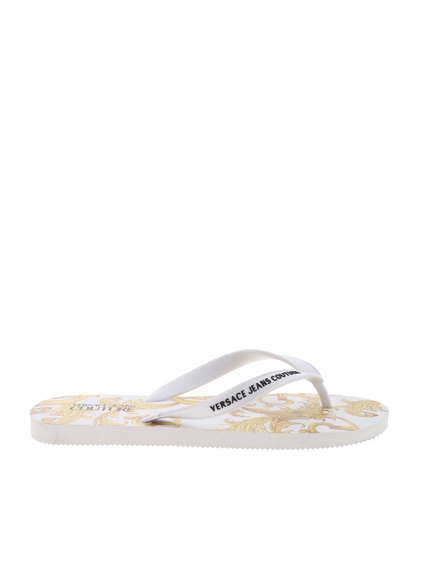 Versace Jeans Couture BAROQUE PRINT SLIPPERS IN WHITE
