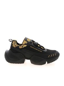 Versace Jeans Couture - Baroque logo details sneakers in black