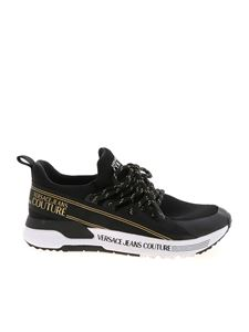 Versace Jeans Couture - Knit sneakers in black and gold color