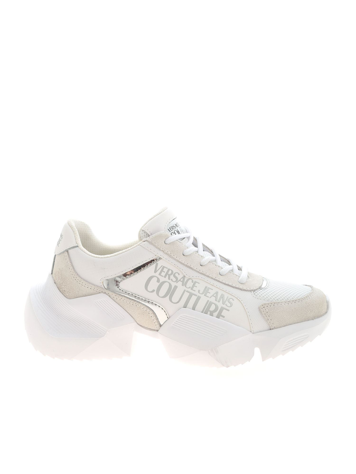 Versace Jeans Couture SILVER LOGO SNEAKERS IN WHITE