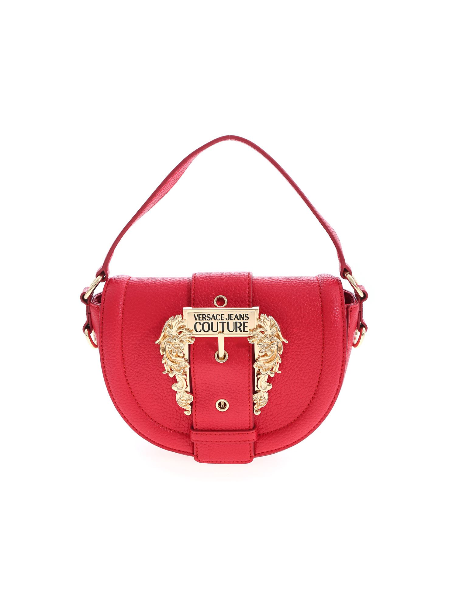 Versace Jeans Couture Leathers BUCKLE HANDBAG IN RED