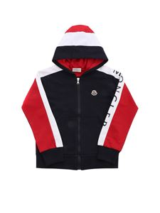 Moncler Enfant - Logo sweatshirt in blue red and white