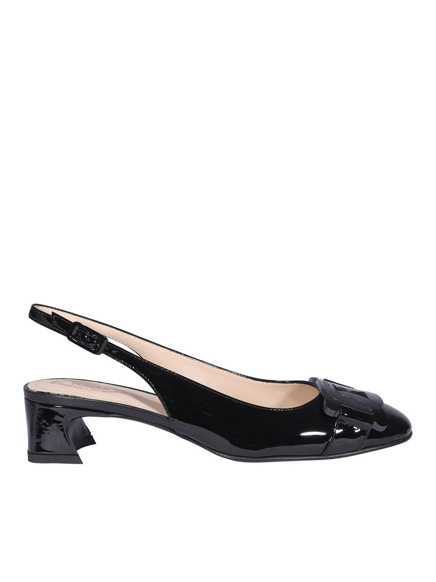 Tod's CHAIN TRIM PATENT LEATHER SLINGBACKS IN BLACK