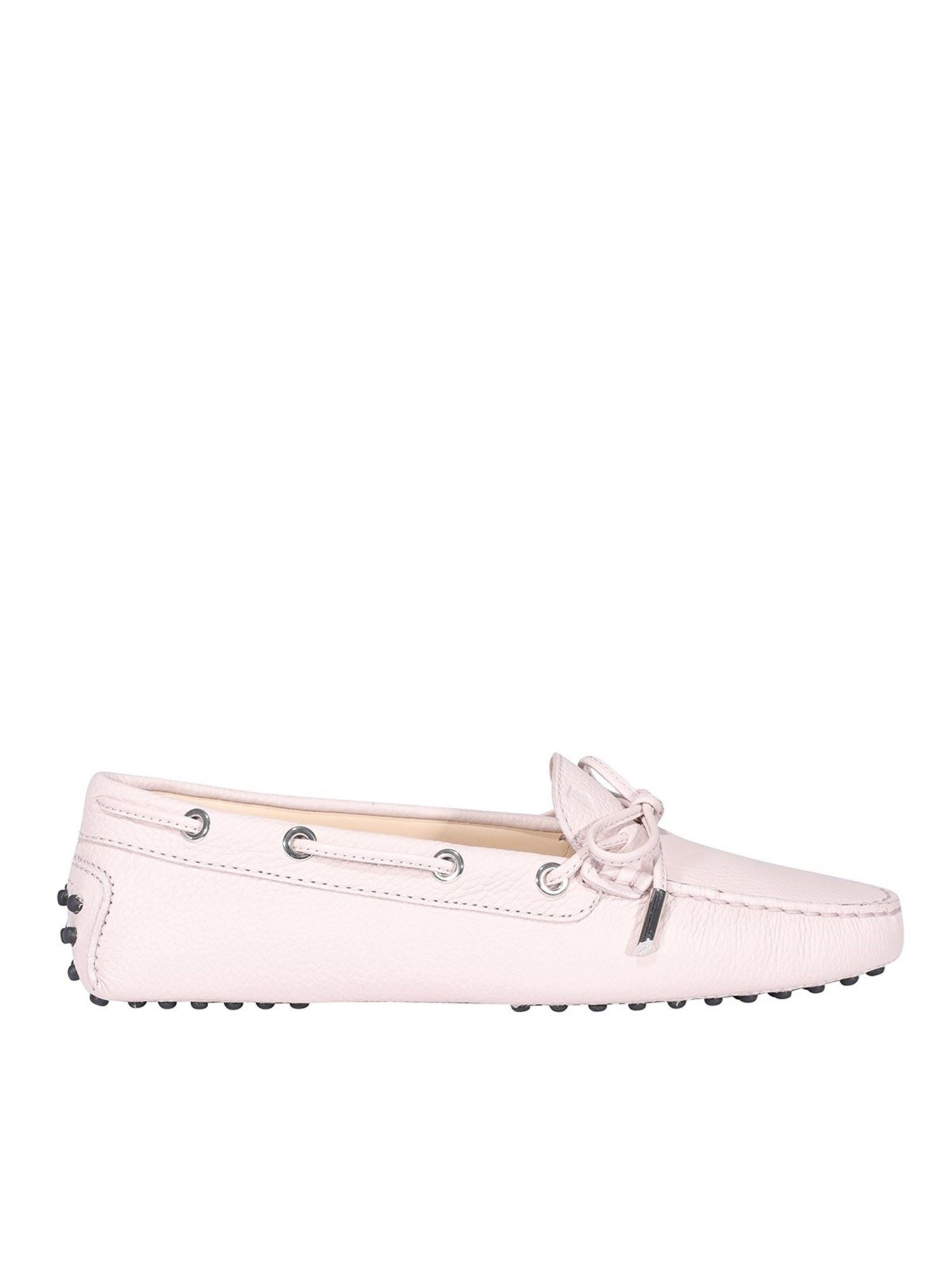 Tod's PEBBLED LEATHER DRIVING SHOES IN PINK
