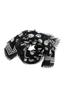 Alexander McQueen - Sciarpa Skull Biker nera