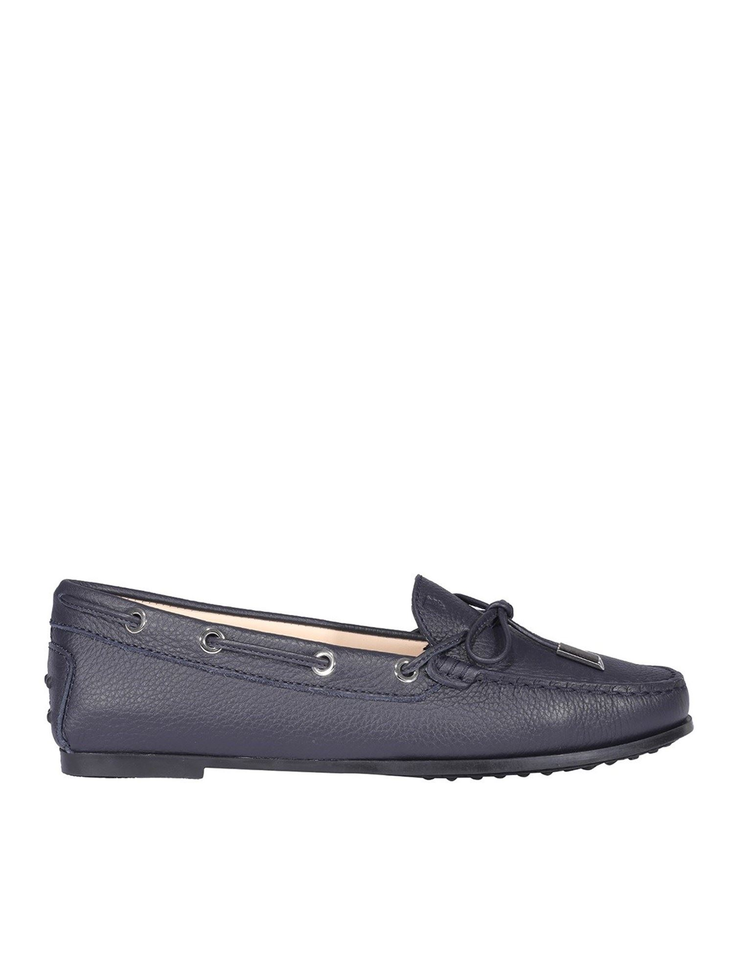 Tod's PEBBLED LEATHER DRIVING SHOES IN BLUE