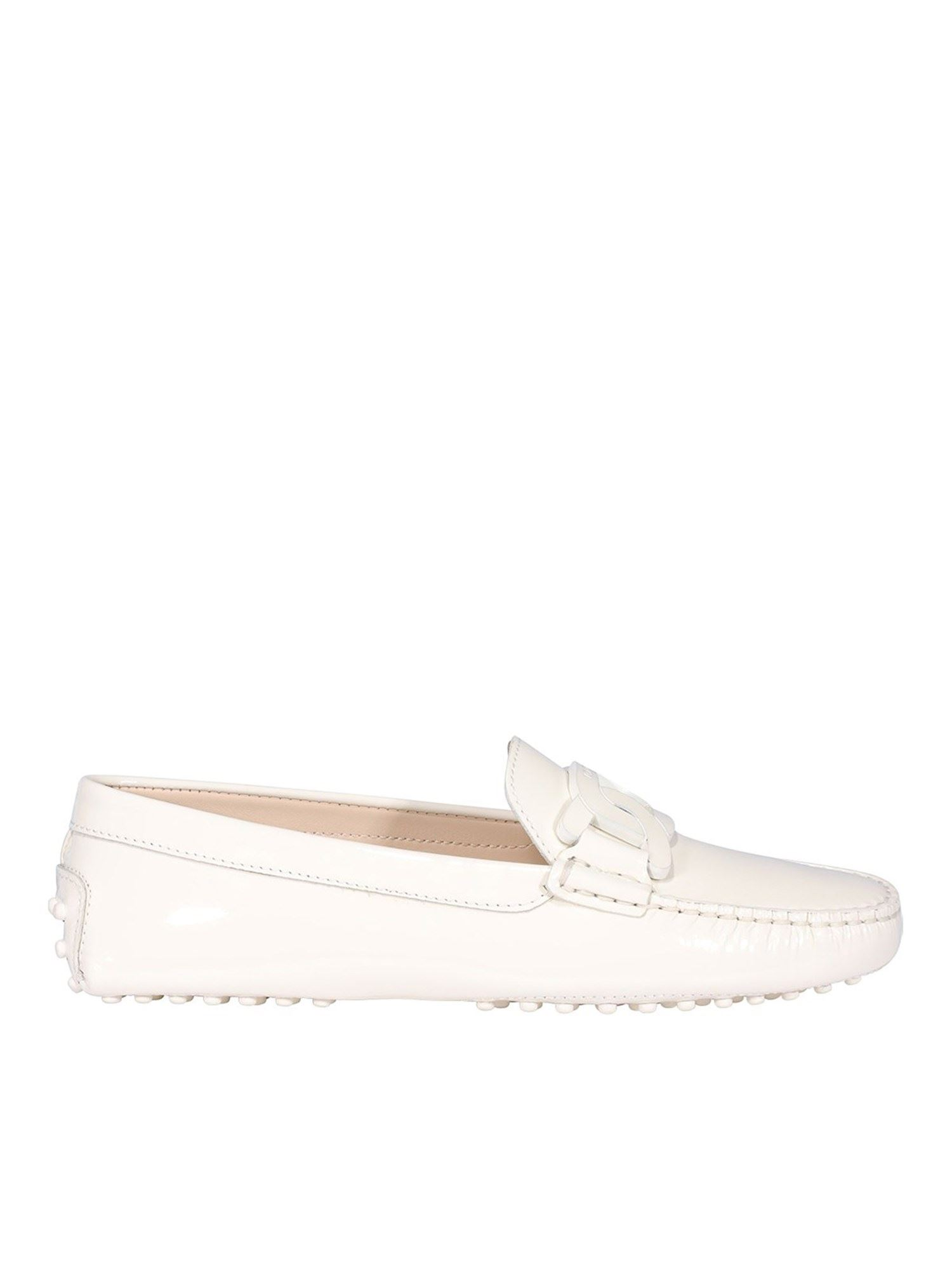 Tod's CHAIN TRIM PATENT LEATHER LOAFERS IN WHITE