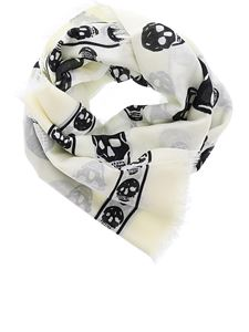 Alexander McQueen - Classic Skull scarf in white