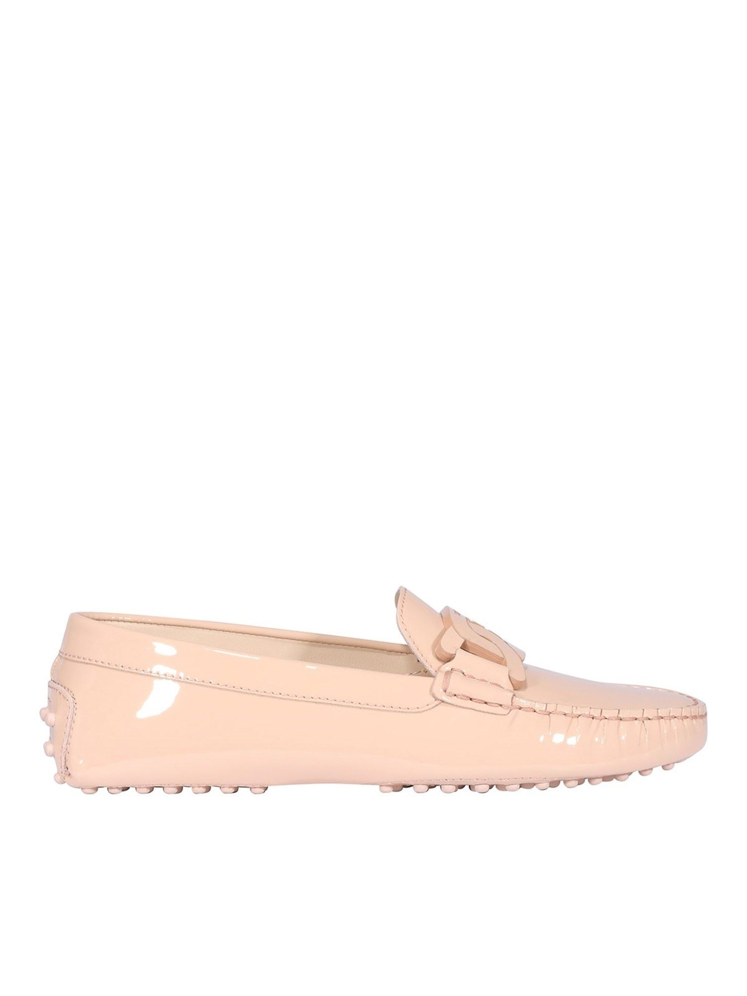 Tod's CHAIN TRIM PATENT LEATHER LOAFERS IN PINK
