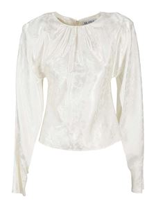 The Attico - Jacquard satin long sleeved blouse in white
