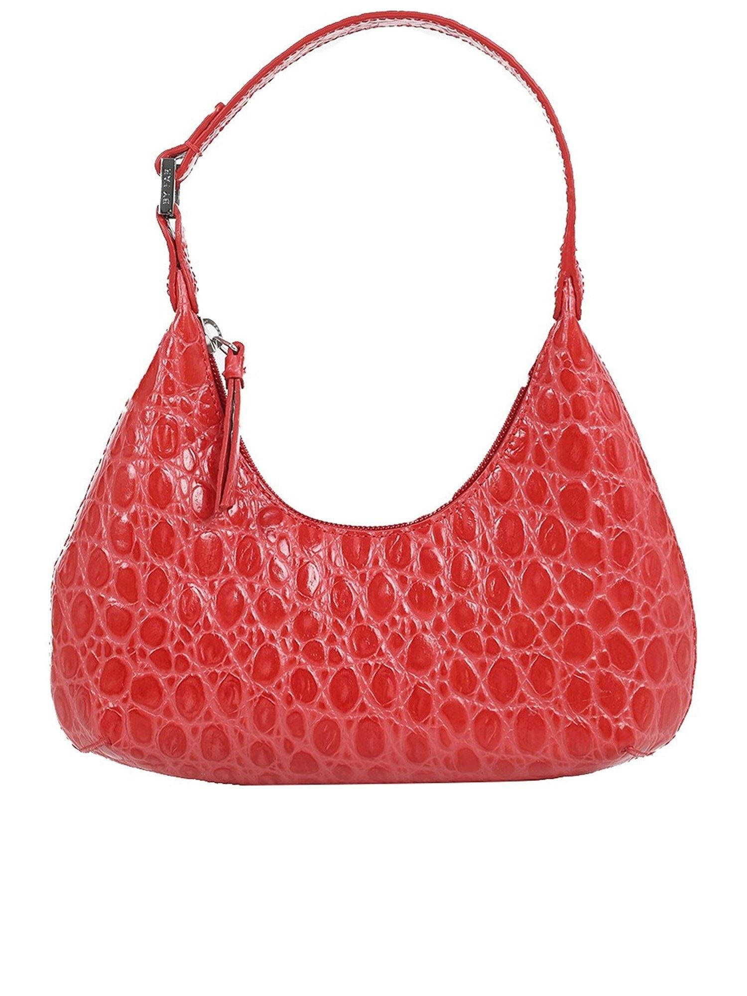 By Far AMBER BABY CROC PRINT SHOULDER BAG IN RED