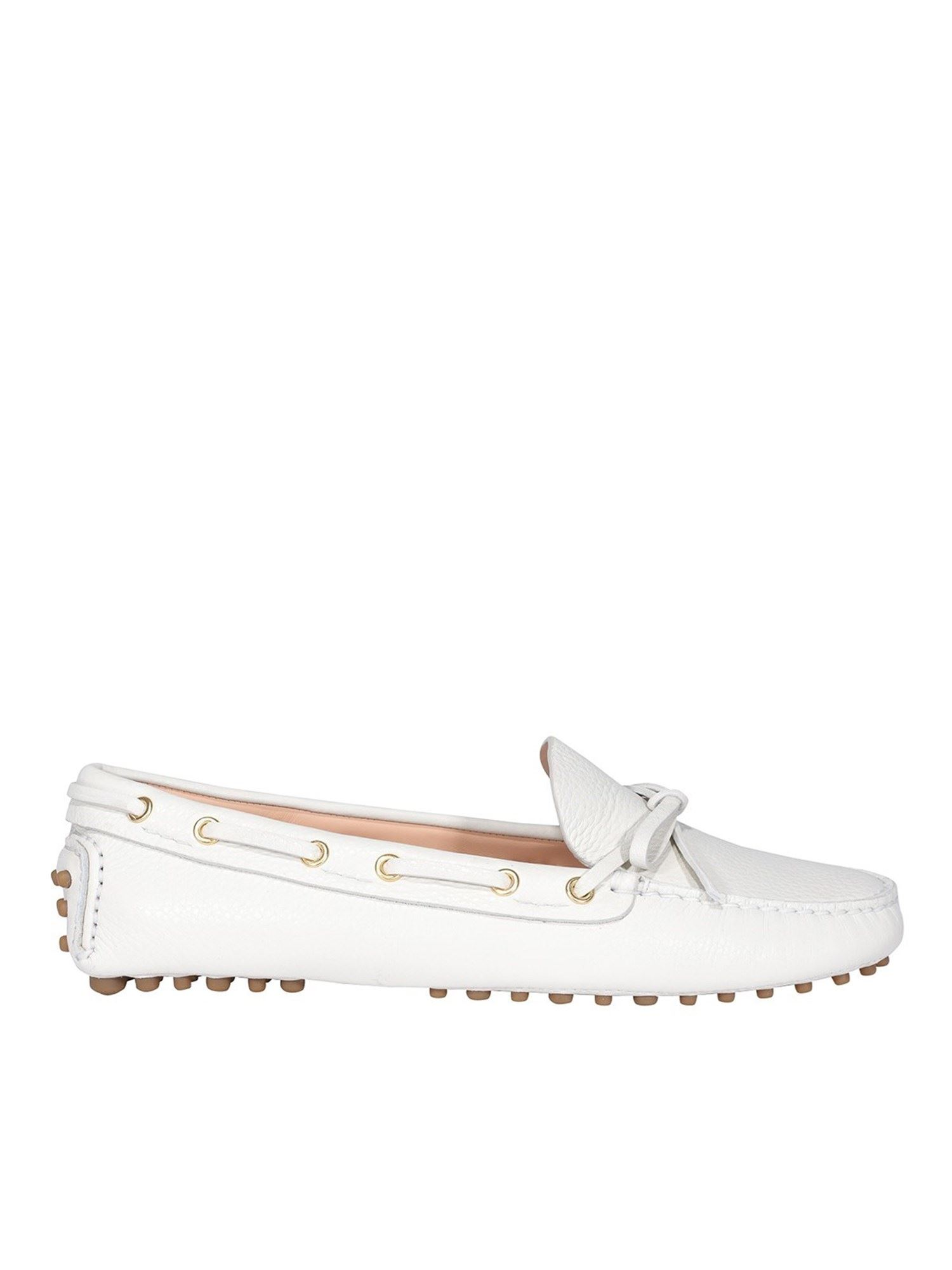 Car Shoe GRAINY LEATHER DRIVING SHOES IN WHITE
