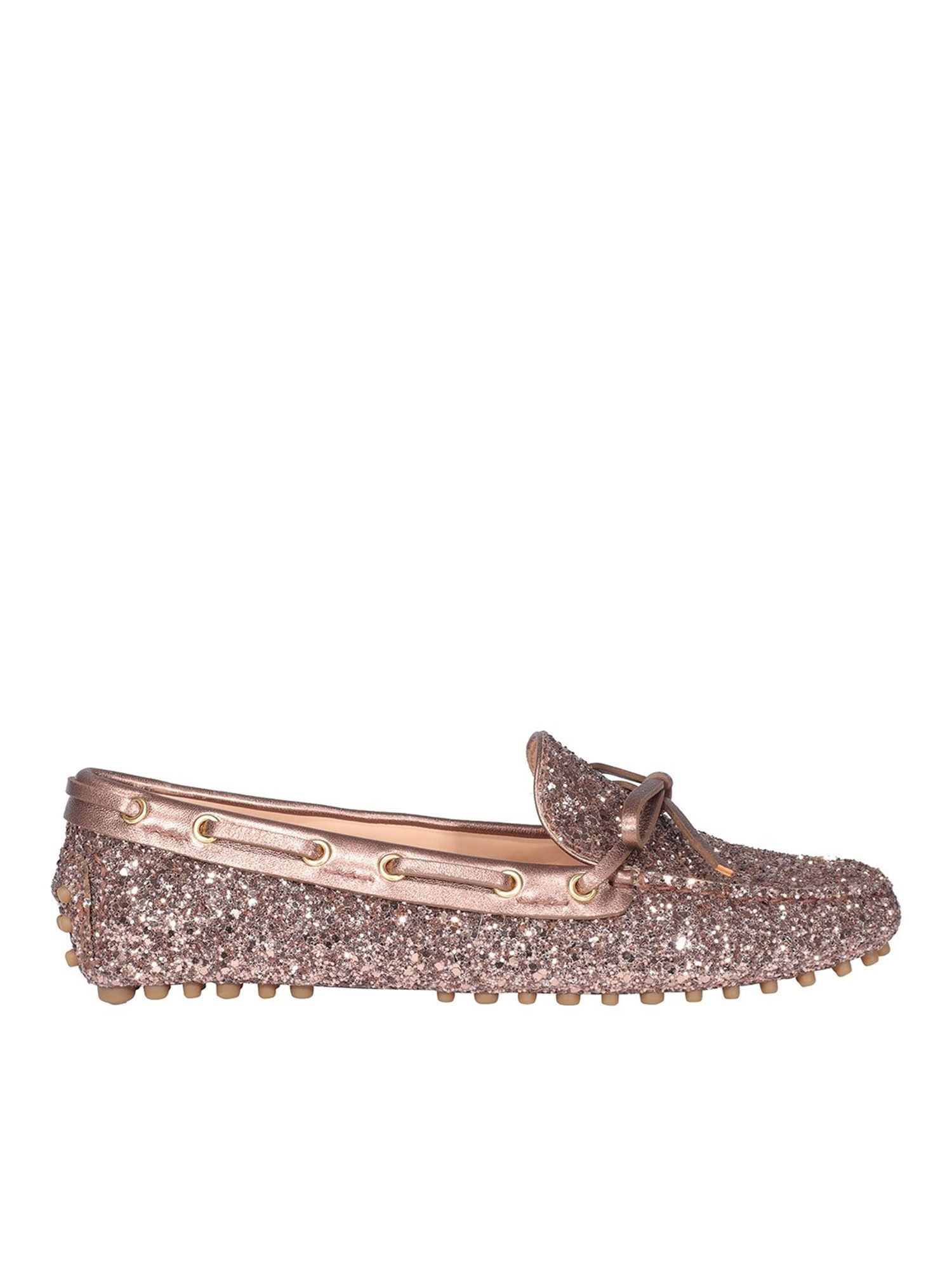 Car Shoe GLITTER DRIVING LOAFERS IN PINK