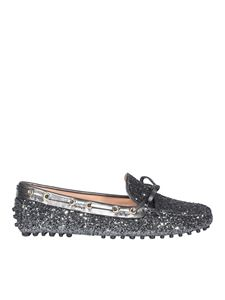 Car Shoe - Glitter driving loafers in grey