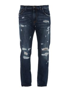Dolce & Gabbana - Distressed effect stretch denim jeans in blue