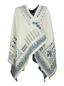 Etro - Embroidered wool blend shawl in cream color