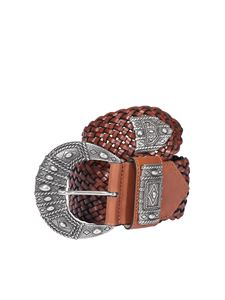 Etro - Woven leather belt in brown