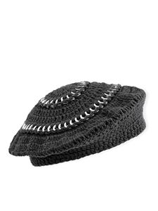 Ganni - Braided cotton hat in black