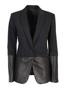 Helmut Lang - Wool and leather blend blazer in black