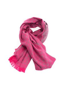 Gucci - GG wool scarf in fuchsia and grey