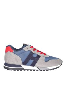 Hogan - H383 sneakers in grey blue and red