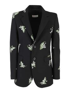 Red Valentino - Wool and cotton single breasted blazer in black